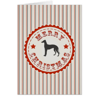 Retro Merry Christmas Greyhound Dog Greeting Card