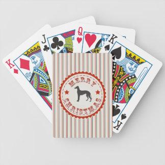 Retro Merry Christmas Greyhound Dog Deck Of Cards