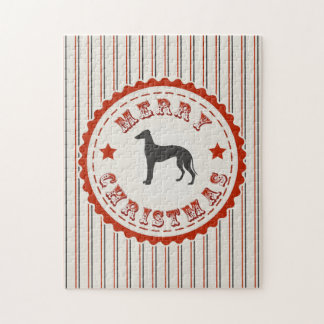 Retro Merry Christmas Greyhound Dog Jigsaw Puzzle