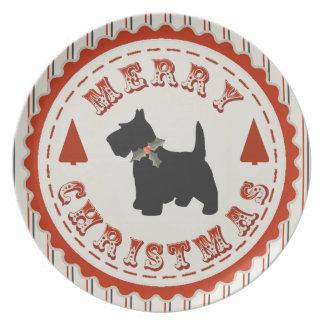 Retro Merry Christmas Scottish Terrier Dog Plate
