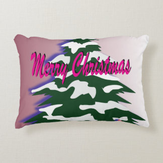 Retro Merry Christmas Tree Decorative Cushion