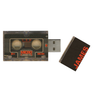 Retro Micro Cassette Audiotape Personalized Wood USB Flash Drive
