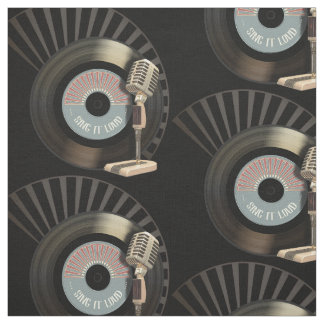Retro Microphone And Vinyl 45 Record Fabric