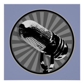 Retro Microphone Graphic Poster