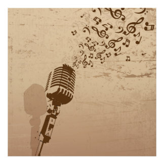 Retro Microphone Music Illustration Poster