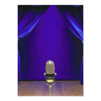 Retro Microphone On Stage 11 Cm X 16 Cm Invitation Card