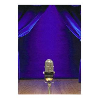 Retro Microphone On Stage Custom Invite