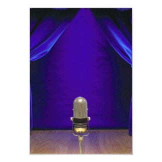 Retro Microphone On Stage 3.5x5 Paper Invitation Card