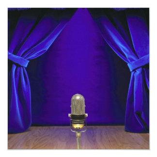 Retro Microphone On Stage 5.25x5.25 Square Paper Invitation Card