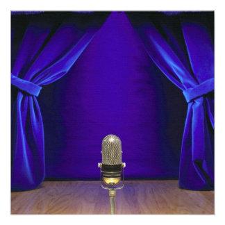 Retro Microphone On Stage Invitations
