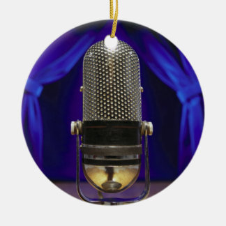 Retro Microphone & Stage Curtains Ceramic Ornament