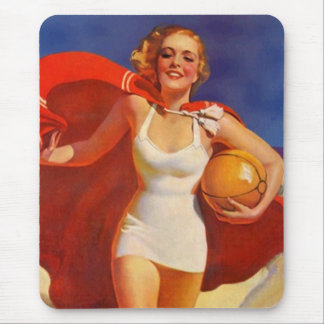 Retro ~ Mid-Century Beach Fashions Red Caped Gal Mouse Pad