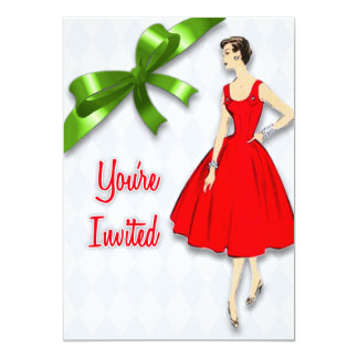 Retro Mid Century Modern Christmas Party Card