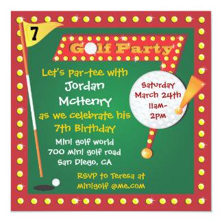 """Retro Miniature Golf Party Invitation 5.25"""" Square Invitation Card"""
