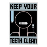 Retro minimalist ad Keep your teeth clean Poster