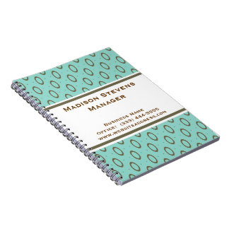 Retro Mint Green Brown Circles Spiral Notebook