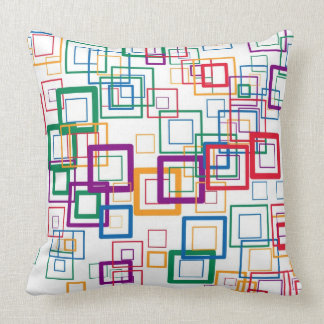 Retro Mint Yellow Red Purple Squares Pattern Throw Pillow