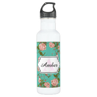 Retro Minty Pastel rose vintage vines pattern 710 Ml Water Bottle