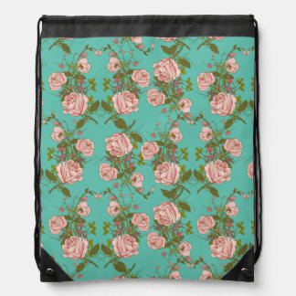 Retro Minty Pastel rose vintage vines pattern Drawstring Bag