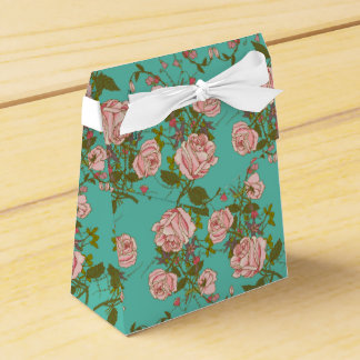 Retro Minty Pastel rose vintage vines pattern Favour Box