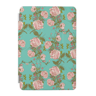 Retro Minty Pastel rose vintage vines pattern iPad Mini Cover