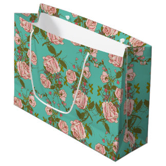 Retro Minty Pastel rose vintage vines pattern Large Gift Bag