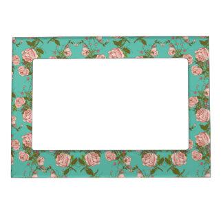 Retro Minty Pastel rose vintage vines pattern Magnetic Picture Frames