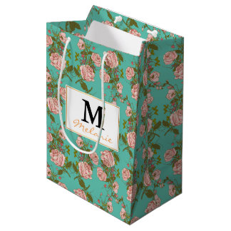 Retro Minty Pastel rose vintage vines pattern Medium Gift Bag