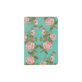 Retro Minty Pastel rose vintage vines pattern Passport Holder
