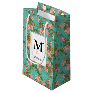 Retro Minty Pastel rose vintage vines pattern Small Gift Bag