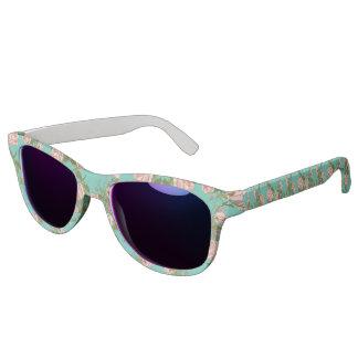 Retro Minty Pastel rose vintage vines pattern Sunglasses