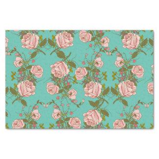 Retro Minty Pastel rose vintage vines pattern Tissue Paper