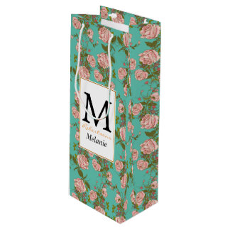 Retro Minty Pastel rose vintage vines pattern Wine Gift Bag