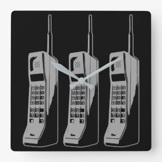 Retro Mobile Phone Graphic Square Wall Clock