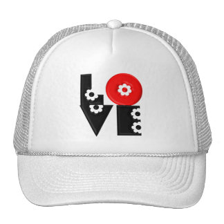 Retro Mod 3D Flowered LOVE Trucker Hat