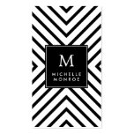 Retro Mod Black and White Pattern Bold Monogram Business Cards