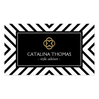 Retro Mod Black and White Pattern Gold Clover Logo Business Cards