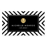 Retro Mod Black and White Pattern Gold Monogram Pack Of Standard Business Cards