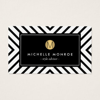Retro Mod Black and White Pattern Gold Monogram Business Card