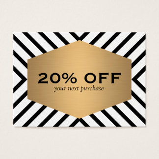 Retro Mod Black White Pattern Gold Emblem Coupon Business Card