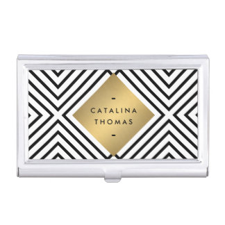 Retro Mod Bold Black and White Pattern Gold Emblem Business Card Cases