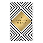 Retro Mod Bold Black and White Pattern Gold Emblem Pack Of Standard Business Cards