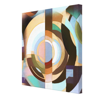 Retro Mod Brown and Blue Grapic Circle Pattern Canvas Print