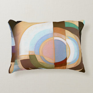 Retro Mod Brown and Blue Grapic Circle Pattern Decorative Cushion