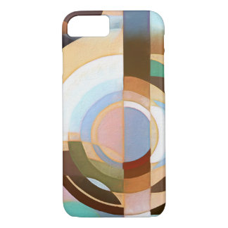 Retro Mod Brown and Blue Grapic Circle Pattern iPhone 7 Case