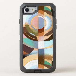 Retro Mod Brown and Blue Grapic Circle Pattern OtterBox Defender iPhone 7 Case