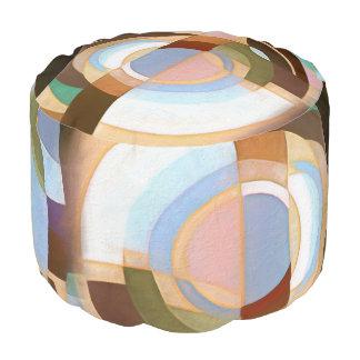 Retro Mod Brown and Blue Grapic Circle Pattern Pouf
