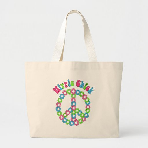 Retro Mod Floral and Peace Symbol Tees, Gifts Jumbo Tote Bag