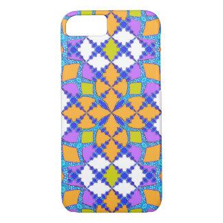 Retro Mod Geometric Orange and Purple Tile Pattern iPhone 7 Case