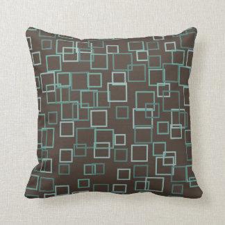 Retro Mod Mid Century Turquoise Brown Throw Pillow